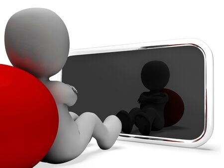 world wide: Smartphone Character Indicating World Wide Web And Website 3d Rendering