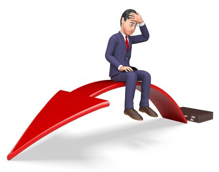 despairing: Arrow Businessman Meaning Lack Of Success And Financial Problem 3d Rendering