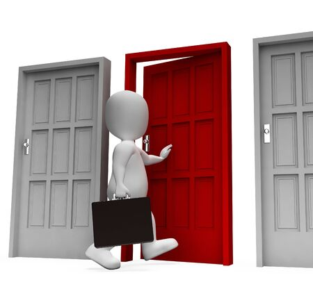to decide: Doors Businessman Showing Confused Right And Render 3d Rendering Stock Photo
