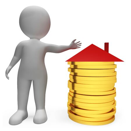 borrowing money: Character Finance Meaning Home Finances And Residential 3d Rendering