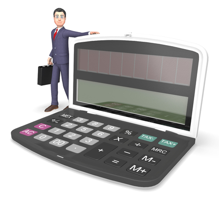 calculation: Character Businessman Representing Finance Calculation And Math 3d Rendering