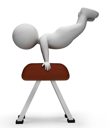 agility: Pommel Horse Representing Get Fit And Agility 3d Rendering