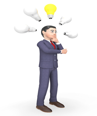lightbulbs: Lightbulbs Idea Meaning Business Person And Consideration 3d Rendering