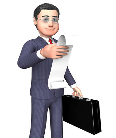 outgoings: Character Businessman Indicating To Do List And Shopping 3d Rendering Stock Photo