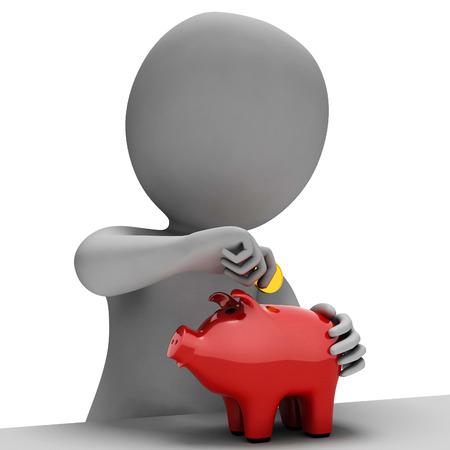 saved: Piggybank Savings Representing Saved Render And Money 3d Rendering
