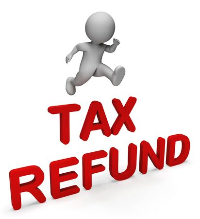 returned: Tax Character Showing Money Back And Returned 3d Rendering Stock Photo