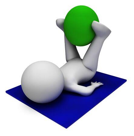 actividad fisica: Bola del ejercicio Indicando la actividad f�sica y render 3d Foto de archivo