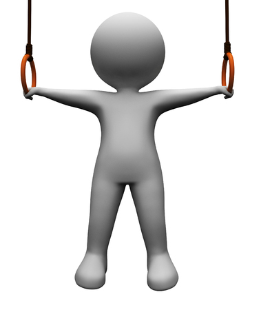 hanging dangling: Character Exercise Meaning Getting Fit And Training 3d Rendering Stock Photo