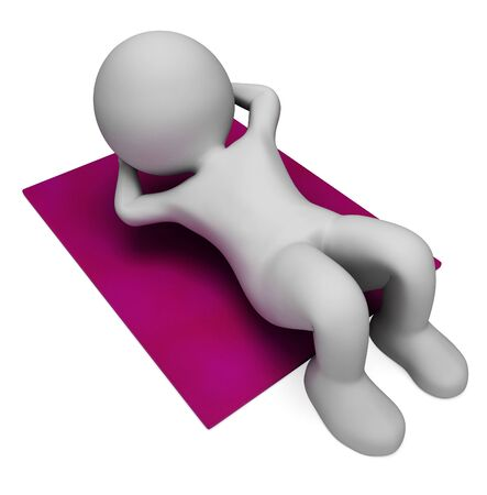 sit ups: Sit Ups Showing Working Out And Exercise 3d Rendering Stock Photo
