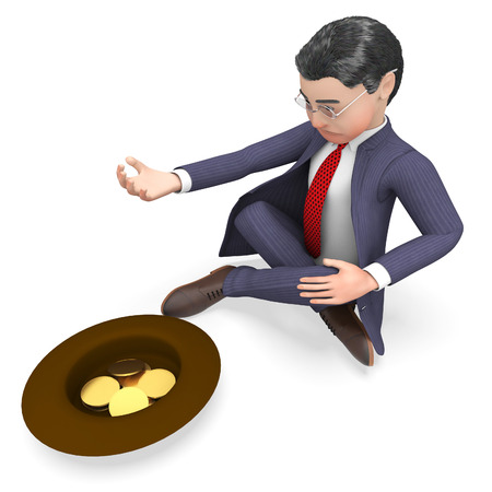 destitute: Businessman Coins Representing Homeless Profit And Starvation 3d Rendering Stock Photo