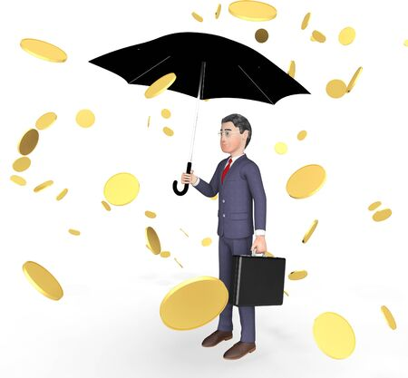 windfall: Character Coins Indicating Business Person And Finance 3d Rendering