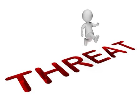 threat: Overcome Threat Showing Breakthrough Difficulties And Ultimatum 3d Rendering