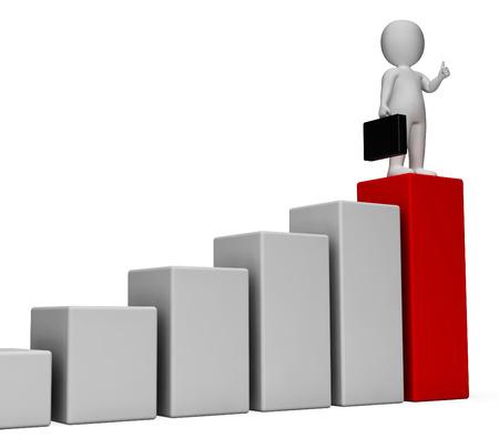 increases: Graph Increase Representing Success Successful And Increases 3d Rendering