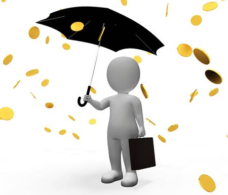 windfalls: Money Windfall Showing Character Falling And Prosperity 3d Rendering Stock Photo