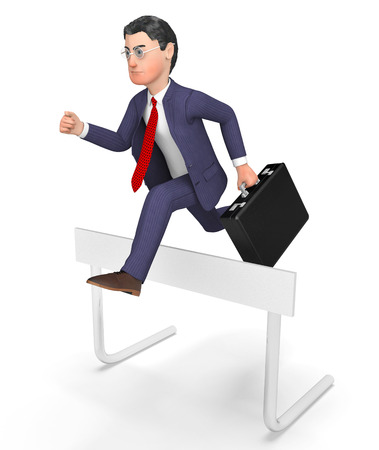 triumphant: Win Businessman Showing Climb Over And Triumphant 3d Rendering