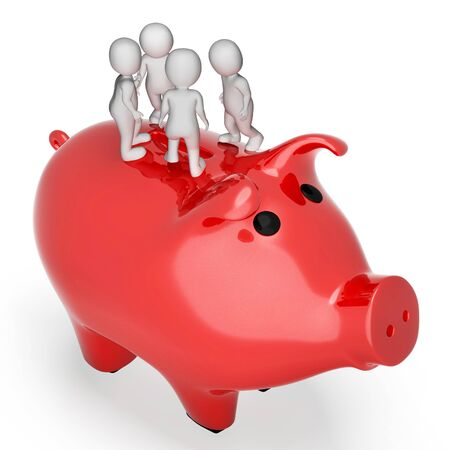 piggybank: Characters Piggybank Showing Save Saving And Richness 3d Rendering Stock Photo