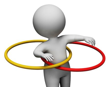 indicating: Hula Hoop Indicating Working Out And Training 3d Rendering