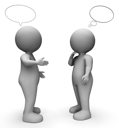 correspond: Speech Bubble Indicating Copy Space And Characters 3d Rendering