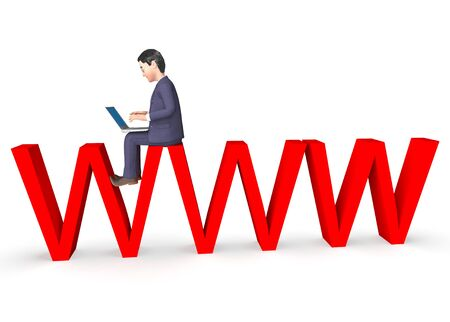 indicating: Character Businessman Indicating World Wide Web And Website 3d Rendering