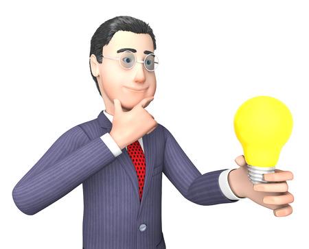 entrepreneurs: Businessman Idea Indicating Power Source And Entrepreneurs 3d Rendering Stock Photo