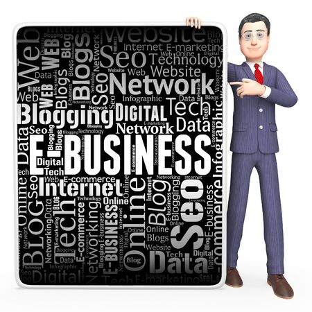 ebusiness: Ebusiness Sign Showing Web Site And Online 3d Rendering