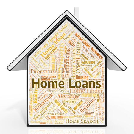 loaning: Home Loans Indicating Advance House And Housing Stock Photo