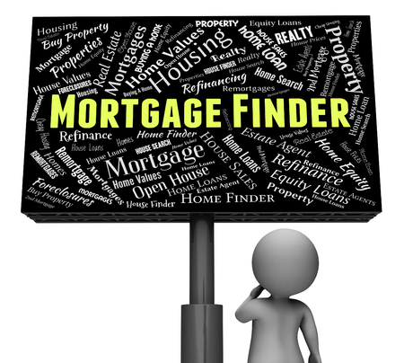 finders: Mortgage Finder Indicating Real Estate And Property 3d Rendering