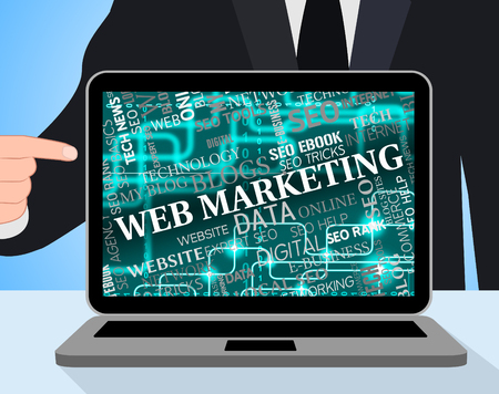 web marketing: Web Marketing Meaning Search Engine And Computing Stock Photo