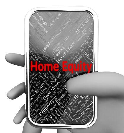 equity: Sitio Web En representaci�n de equidad de la vivienda y el tel�fono inteligente 3d representaci�n Foto de archivo