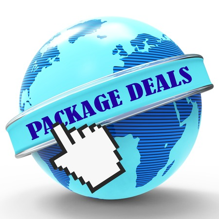 tour operator: Package Deals Representing Tour Operator And Promo 3d Rendering Stock Photo