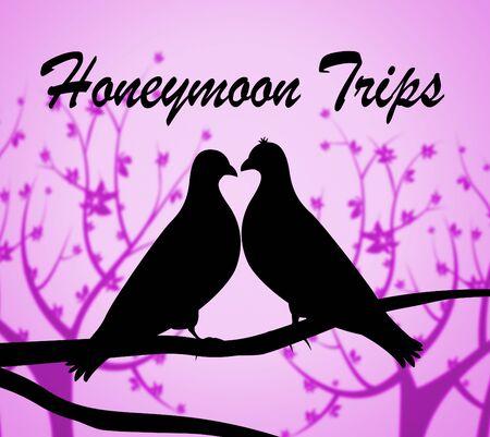 honeymoons: Honeymoon Trips Showing Travel Guide And Romantic Stock Photo