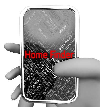 finder: Home Finder Representing Search For And Phone 3d Rendering Stock Photo