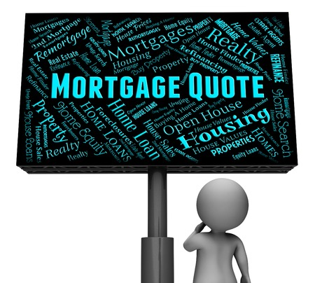 downpayment: Mortgage Quote Showing Real Estate And Purchasing 3d Rendering