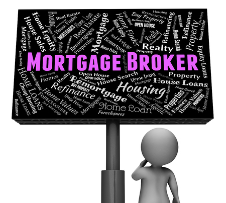 mediator: Mortgage Broker Representing Home Loan And Board 3d Rendering Stock Photo