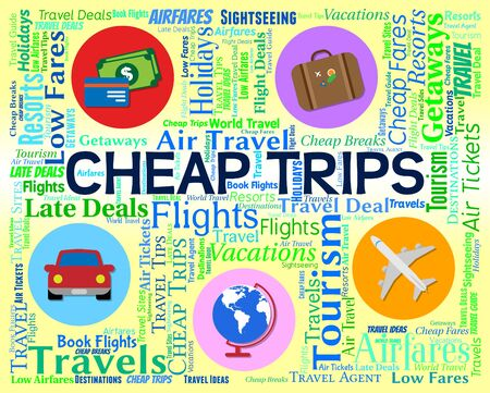 cheapest: Cheap Trips Indicating Travel Guide And Cheapest Stock Photo