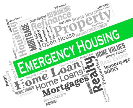 housing crisis: Emergency Housing Indicating Residence Houses And House