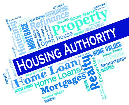 low income housing: Housing Authority Representing Low Income And Houses Stock Photo