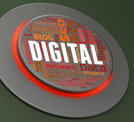 tec: Digital Button Representing Technology Tech And Switch 3d Rendering Stock Photo
