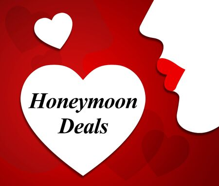 vacationing: Honeymoon Deals Showing Getaway Vacationing And Reduction Stock Photo