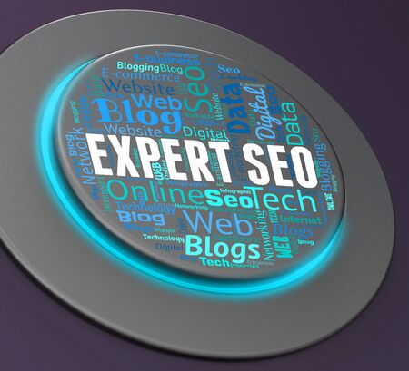 optimizing: Expert Seo Indicating Search Engine And Web 3d Rendering Stock Photo