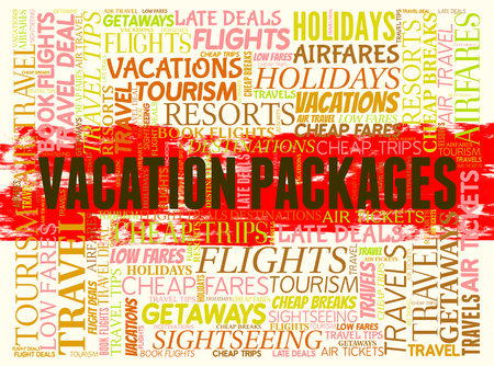 tour operator: Vacation Packages Representing Fully Inclusive And Vacations Stock Photo