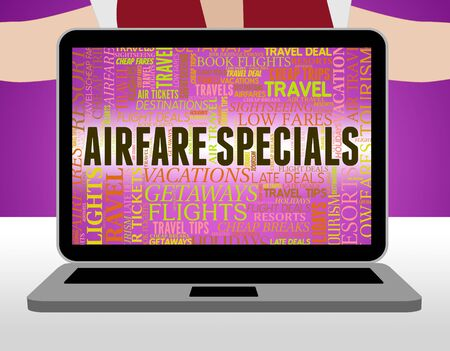 discounted: Airfare Specials Showing Discounts Offer And Aeroplane Stock Photo