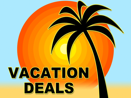 getaways: Vacation Deals Indicating Vacational Save And Offers Stock Photo