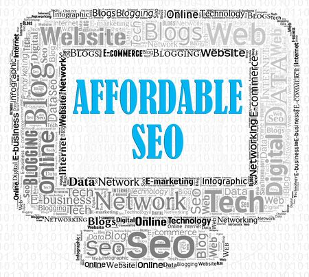 discounted: Affordable Seo Representing Low Cost And Optimization Stock Photo