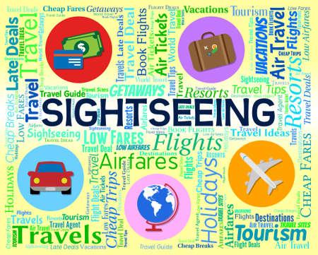 visiting: Sightseeing Word Representing Trip Vacations And Visiting Stock Photo