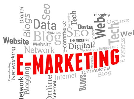 emarketing: Emarketing Wordcloud Indicating Online Words And Web Stock Photo