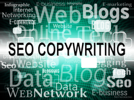 copywriting: Seo Copywriting Showing Search Engine And Optimize Stock Photo