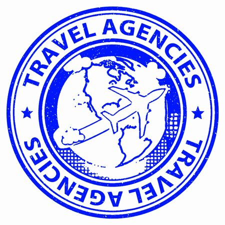 vacationing: Travel Agencies Indicating Vacationing Service And Trip Stock Photo