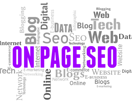 search engines: On Page Seo Showing Search Engines And Wordclouds Stock Photo