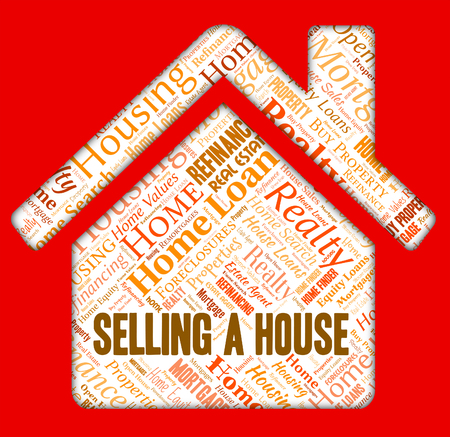 residential market: Selling A House Meaning Homes Home And Promote Stock Photo